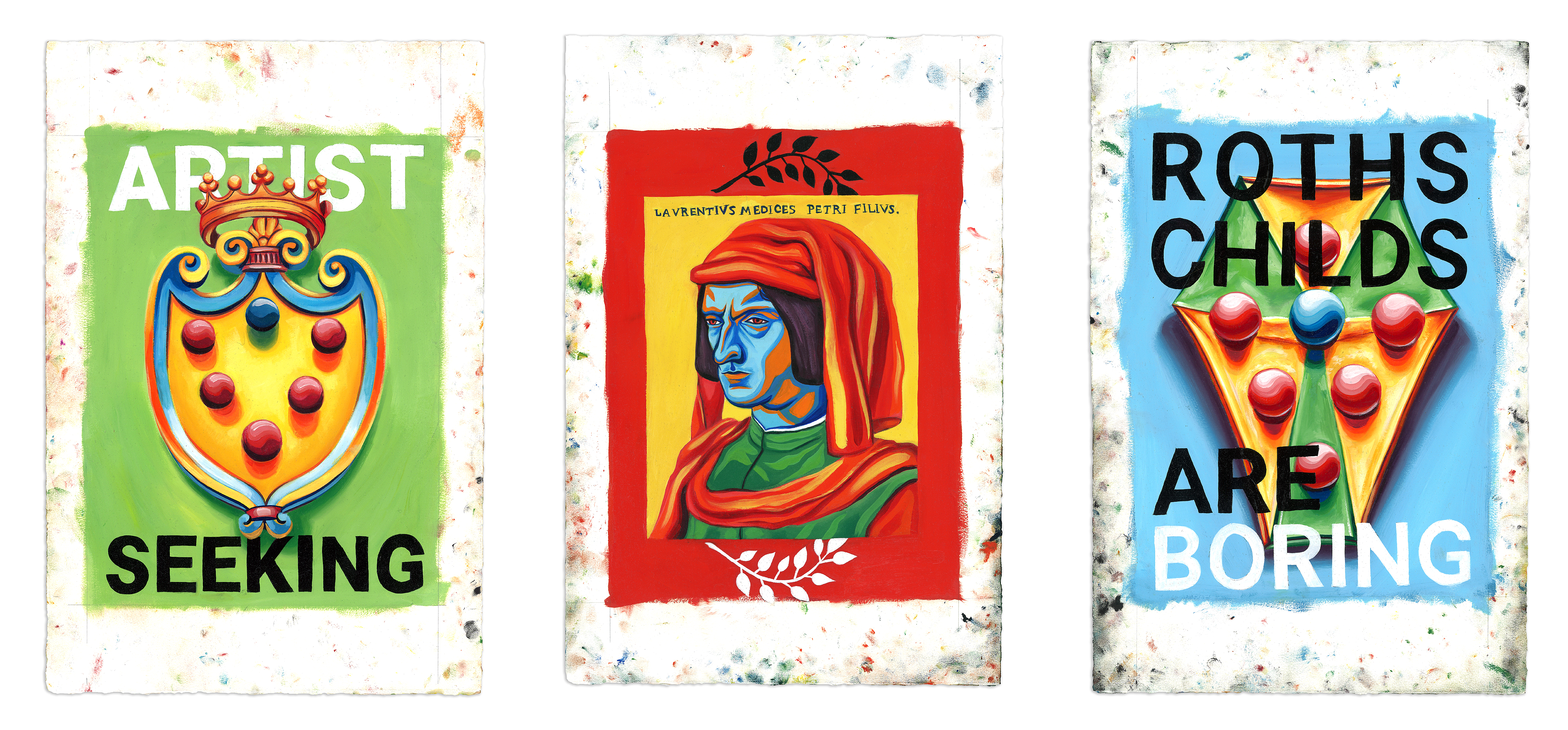 Medici Triptych - Oil at 12 x 16 in. on 22 x 15 in. BFK Rives.