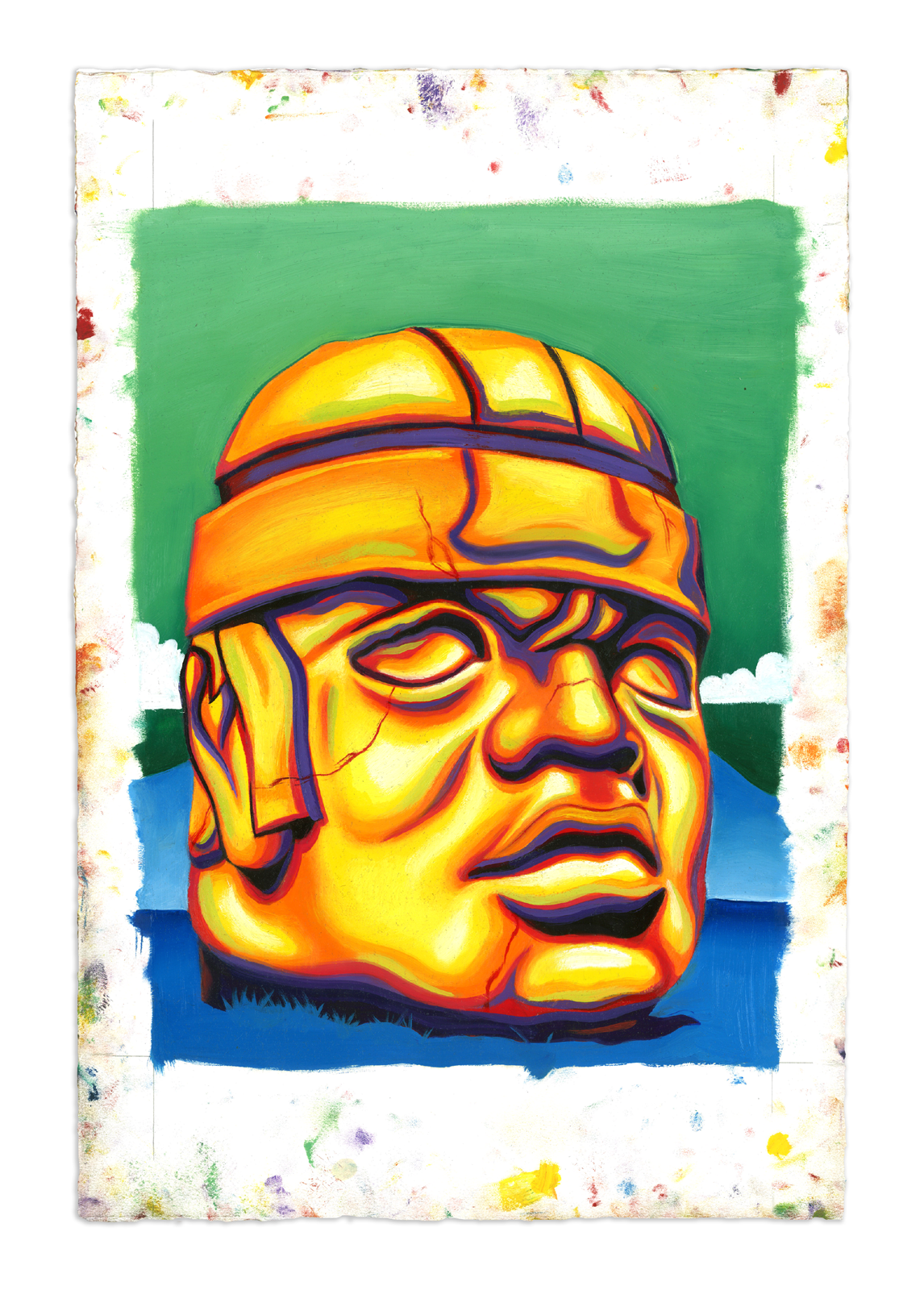 Olmec - Oil at 12 x 16 in. on 22 x 15 in. BFK Rives