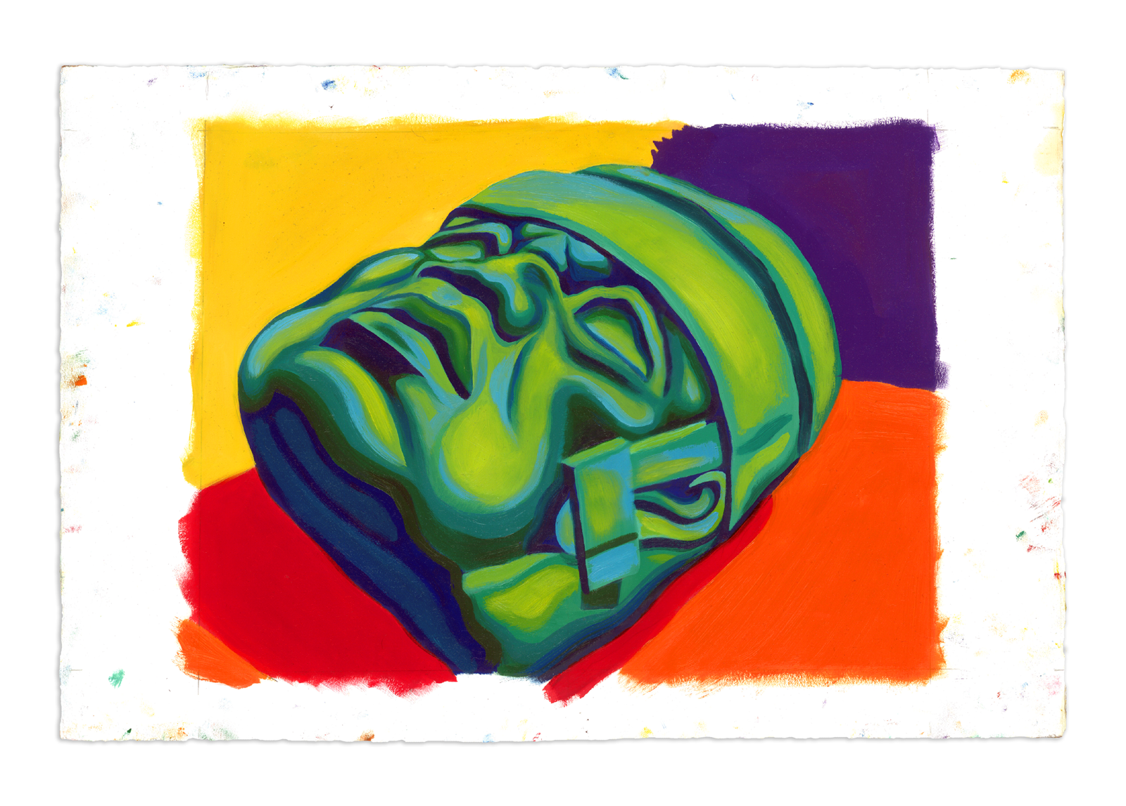 Olmec Head 002 - Oil at 12 x 16 in. on 22 x 15 in. BFK Rives