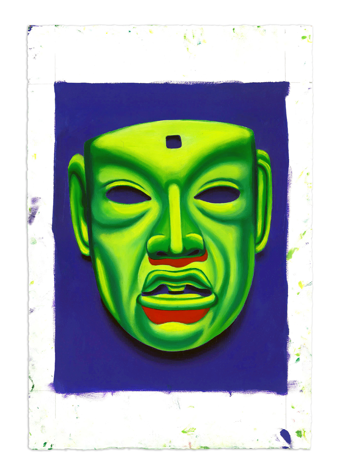 Jade Mask, Olmec - Oil at 12 x 16 in. on 22 x 15 in. BFK Rives