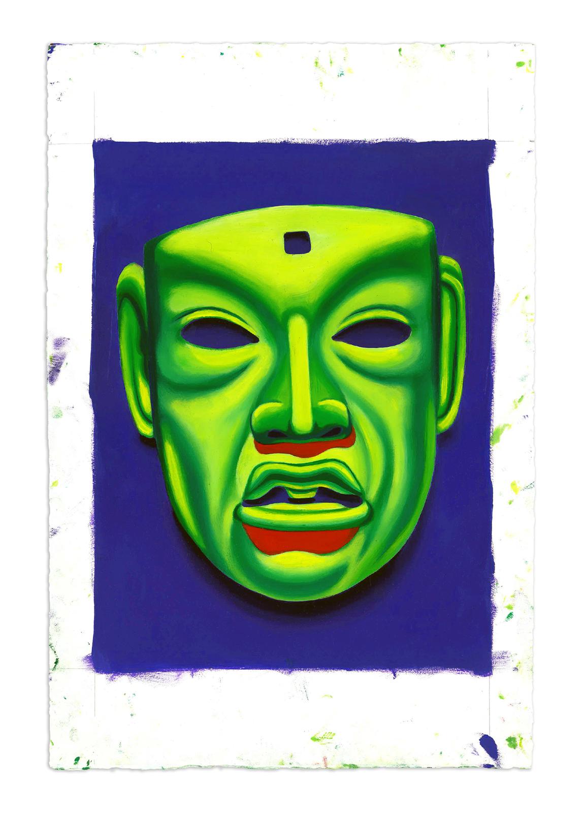 Jade Mask, Olmec - Oil at 12 x 16 in. on 22 x 15 in. BFK Rives