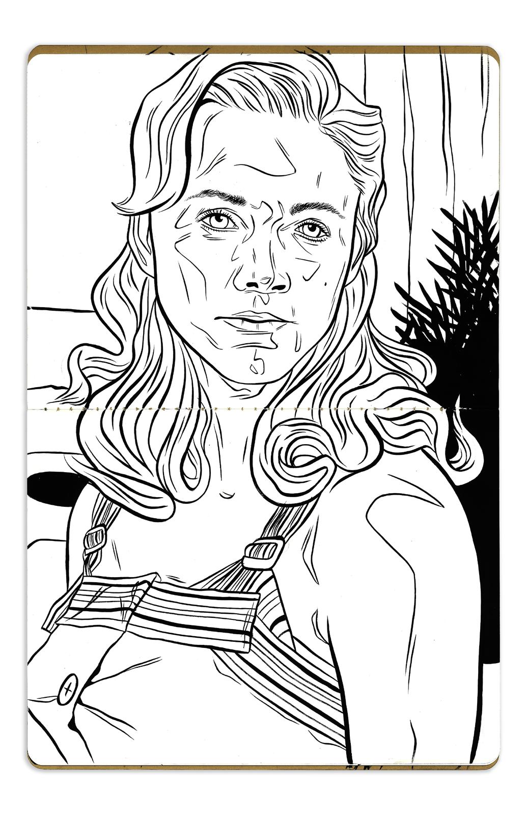 Laine Neil - Acrylic Ink in 7.25 x9.75 Moleskine Sketchbook