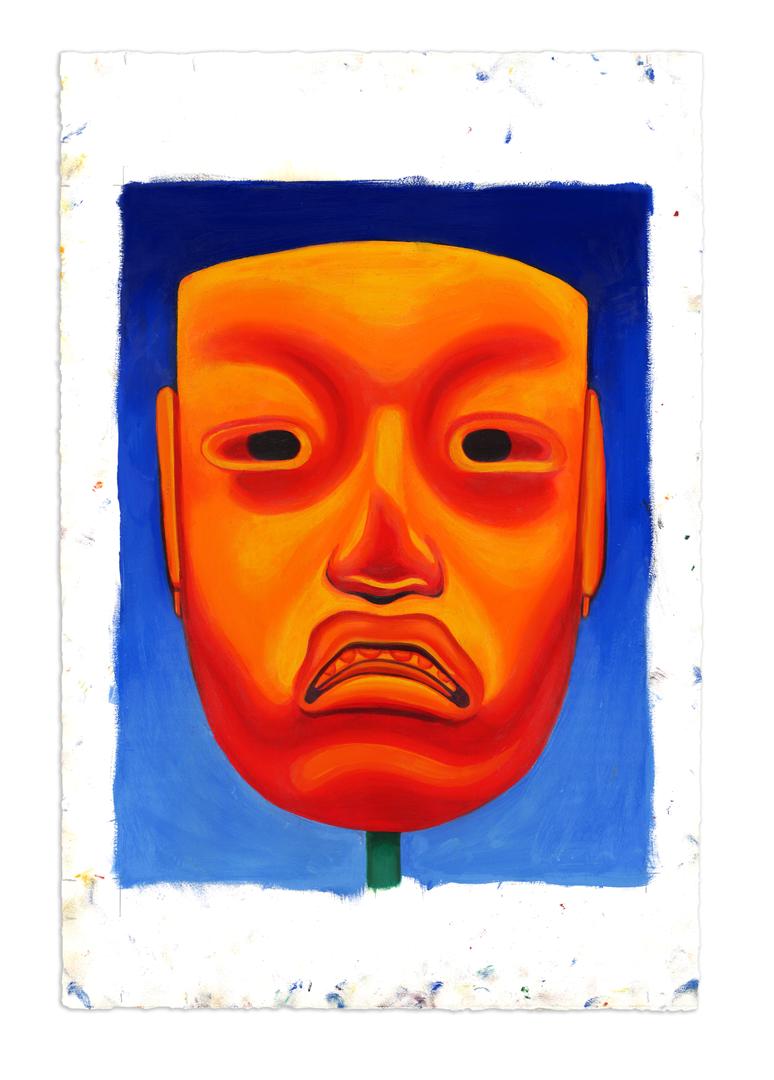 Jade Mask, Olmec 002 - Oil at 12 x 16 in. on 22 x 15 in. BFK Rives